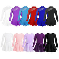Kids Girls Ballet Skating Dance Leotards Gymnastics Dress Tied Skirt Set Costume