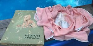Vintage Newport Knitwear Boxed BABY BLANKET Pink Kitty Applique Embroidered