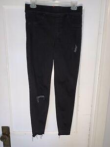 Spanx Vintage Distressed Ankle Skinny Jeans Black Jeggings Women Size M 20213r