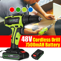 48V Cordless Combi Drill Impact Driver LED Worklight Screwdriver +Li-Ion Battery