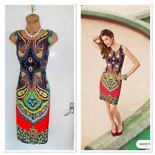 JOSEPH RIBKOFF Colourful Multi Print Jersey Dress Uk Size 18