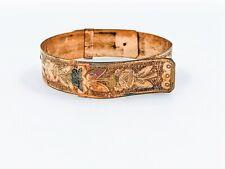 Vtg Victorian Gold Filled Floral Etched Adjustable Belt Buckle Antique Bracelet