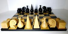 "MAN RAY CHESS MEN - CLASSIC MODERN 20th C. SET with MODERN 15¾"" CHESSBOARD (709)"