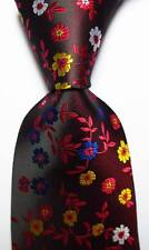 New Classic Floral Red Blue Yellow White JACQUARD WOVEN Silk Men's Tie Necktie