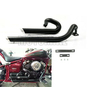 Shortshots Staggered Exhaust Pipe Fit Yamaha V star 650 XVS650 Dragstar 650 400