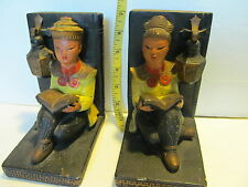 Vintage 1950 Heavy Chinese Figurine Book Ends. Chalk Ware. Unique, Beautiful