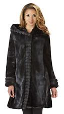 Women's Excelled Fur Look Hooded Jacket Black S #NK8UI-918