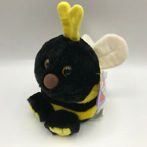 "Buzz Puffkins Bumblebee Black Yellow 4"" Plush Stuffed Animal Bee Swibco 1994 NEW"