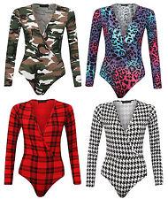 Women's Printed Wrap Over V Neck Leotard Bodysuit Top Camouflage Multi Color