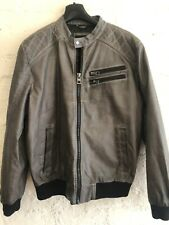 Guess Mens Leather Look Fashion Jacket Large