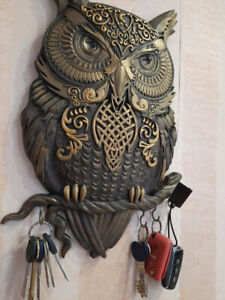 Key holder for wall  Wooden carved Owl hook display Unique gifts Wall art decor