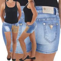 Damen Hot Pants Hotpants Jeans Shorts Kurze Hose Capri Hüft Stretch Blau Gold