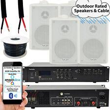 400W LOUD Outdoor Bluetooth System –4x White Speaker– Weatherproof Garden Music