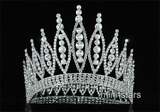 "High Quality Pageant Tall 4.6"" Tiara Full Circle Round Crystal Crown AT1723"