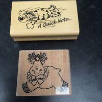 Set Of Two Wooden Backed Rubber Reindeer Tiger Stampers Crafting Stampers