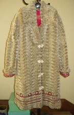 OILILY Womens Faux Fur Hooded Dot Quilted Clam Shell Beige w Ribbons - Sz 36