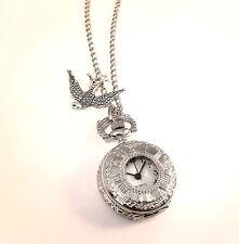 Vintage Silver Swallow Pocket Watch Clock Necklace-Jewellery-Alice in Wonderland