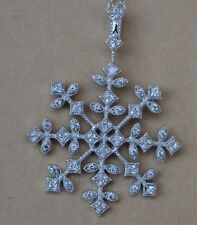 BERRICLE STERLING SILVER CUBIC ZIRCONIA CZ SNOWFLAKE PENDANT NECKLACE #