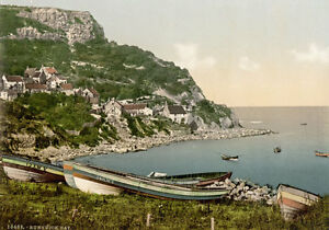 "P40 Vintage 1890's Photochrom Photo Runswick Bay Whitby - Print A3 17""x12"""
