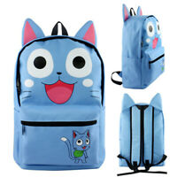 Fairy Tail Happy Cat Backpack Schoolbag Canvas Shoulder Bag Anime Cosplay Gift