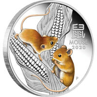 2020 Year Of The Mouse Lunar 1oz Silver Proof Coloured Coin