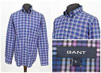 Mens GANT 80s Twill E-Z Fit Casual Shirt Purple Check Long Sleeve Cotton Size L