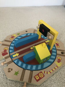 Wooden Train Set Turn Table That Spins