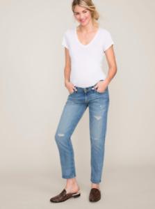 Current/Elliott X HATCH Size 31 Maternity Boyfriend Super Loved Destroyed Jeans