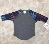 NWT LulaRoe Girls Gray/Blue/Orange Geometric 3/4 Sleeve Sloan T-Shirt Sz 2