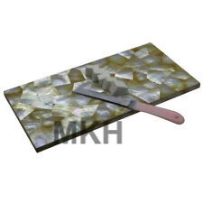 Marble Inlay Cheese Platter Cutting Board Gems Tray Pietra Dura Vintage Mosaic