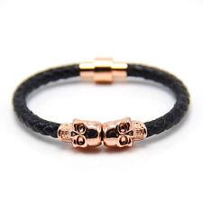 Fashion Customize Leather Magnetic Wrap Skull Rope Braided Mens Bracelet + Box