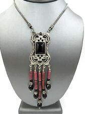 Vintage Deco Style Sterling Silver Rhodchrosite Onyx Marcasite Pendant Necklace