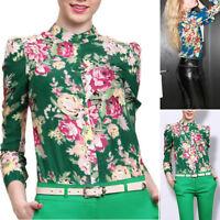 2017 Autumn Women Lady Casual Floral Long Sleeve Chiffon Shirt Blouse Tops Hot