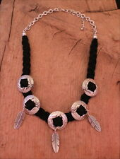 South Western Silver Concho Feather Charms Black Suede Leather Cowgirl Necklace