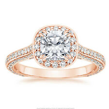 1.35 Ct Round Diamond Engagement stylish Rings 14K Solid Rose Gold Ring Size 6 7