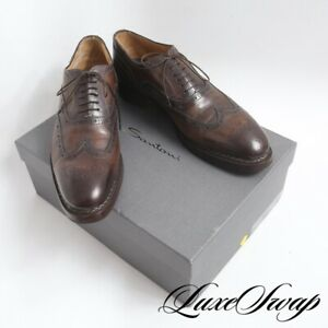 #1 MENSWEAR Santoni Limited Edition Brown Burnished Leather Norvegese Shoes 10