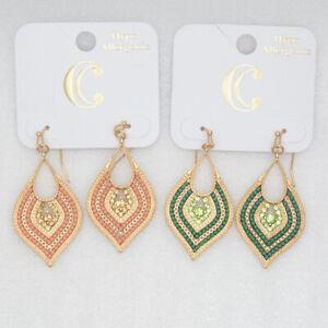 Brand new two pairs teardrop dangle hoop earrings gold tone cut crystals beads