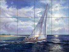 Ceramic Tile Mural Backsplash Mirkovich Sailing Sailboat Nautical Art NMA072