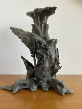 More details for 19th century bronze japanese antique tree sculpture flowers rare signed