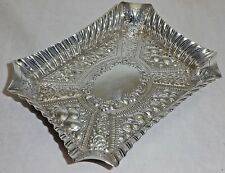 Antique Solid Silver Victorian Rectangle Embossed Pin Tray Shef 1887 (676-7-KNY)