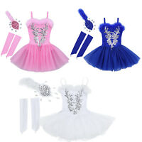 Kids Girls Ballet Leotard Dance Tutu Dress Swan Ballerina Gym Dancewear Costume