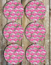 Flamingos Drink Coasters Set of 6 Non Slip Neoprene