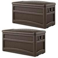 Suncast Outdoor Garden Patio Storage Chest with Handles and Seat, Java (2 Pack)