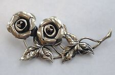 VINTAGE BEAU STERLING SILVER ROSE FLOWER BROOCH excellent Christmas Gift