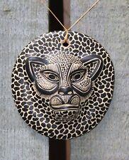 Small Clay Jaguar head Wall plaque Hand Made Maya Chiapas Mexico Folk Art Tribal