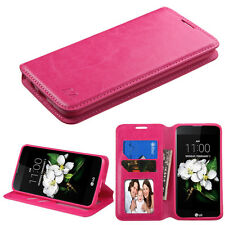 2016 NEW FOR LG Tribute 5 / K7 HOT PINK CARD WALLET LEATHER ACCESSORY COVER CASE