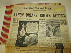Hank Aaron Breaks Ruth Record Newspaper The Des Moines Register April 9, 1974