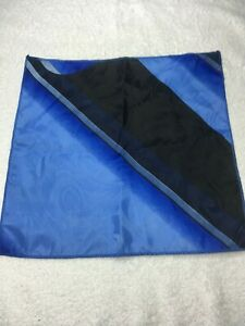 "MENS POCKET SQUARE 10"" X 10"" BLACK AND BLUE"