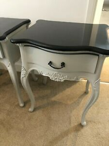 Baroque Style Bedside Tables X2 Marble Table Top. Painted With Farrow & Ball