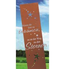 Edelrost Gedicht Tafel Weg zu den Sternen Wandbild Dekoration Metall Rost Garten